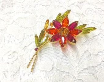 Vintage Orange and Pink Rhinestone Flower Brooch