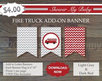 Red and Gray Fire Truck Add-On Banner -60% Off- Printable Baby Boy Shower Banner- L Gray Dark Red - Chevron Baby Shower Decorations- 22-1