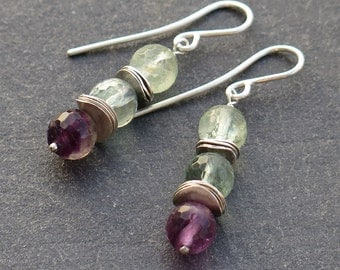 Dangling earrings in 950 sterling silver and fluorite