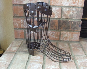 Cowboy Boot Decor, Metal Cowboy Boot, Metal Boot, Ranch House Decor, Country Home Decor, Rustic Decor, Western Decor, Texas Cowboy Boot