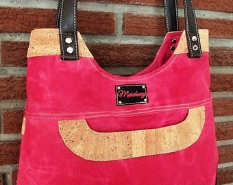 Cork/Waxed Cotton Canvas (Peony Pink) Purse Handbag
