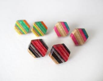 HEXAGON recycled skateboard stud earrings, wood post earrings, unique geometric jewelry, hypoallergenic earrings