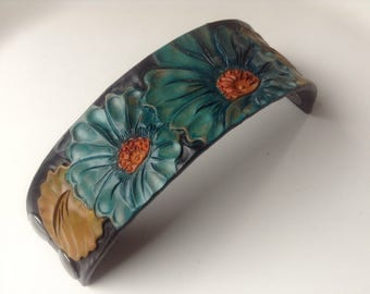 Women's hand painted, tooled leather cuff bracelet