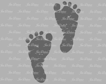 Baby footprints SVG DXF EPS, footprints svg, svg cutting files, baby feet svg, baby prints file, footprints, baby svg, baby feet svg,