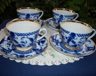 Vintage Lomonosov Porcelain Cups and Saucers...4 Sets...Cobalt Blue Floral...Made in USSR