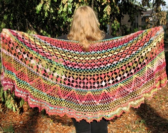 April Flowers and May Showers Victorian Edwardian Romantic Crochet Shawl Wrap