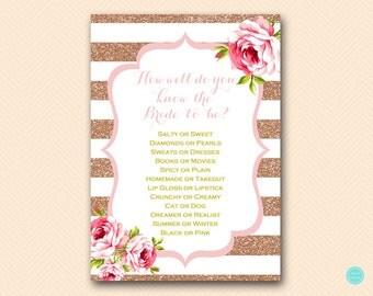 Pink Rose Gold Bridal Shower Games, Who knows the Bride Best Game Printable, Bridal Shower Game, Bridal Shower Games Instant Download BS432