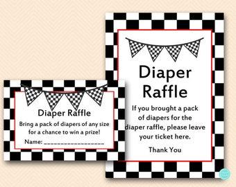 Racing Baby Shower Games, Diaper Raffle Ticket, Diaper Raffle Sign, Diaper Raffle Printable, Shower Activities, Baby Shower Games, TLC113