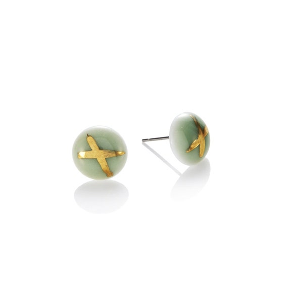 green Studs porcelain with 22k Gold cross