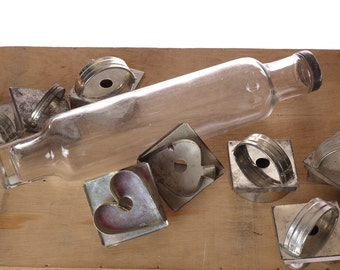 Vintage rolling pin - Clear glass rolling pin - Baking tools - farmhouse cookie cutters - set
