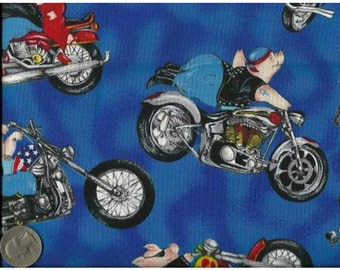 Timeless Treasures Quilting Cotton Fabric Hogs on Motorcycles Blue 127964 - 1/2 Yard
