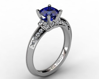 Classic 14K White Gold 1.0 Ct Blue Sapphire Diamond Solitaire Engagement Ring R1126-14KWGDBS
