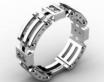 Mens Modern 950 Platinum Diamond Band Ring B1057-PLATD