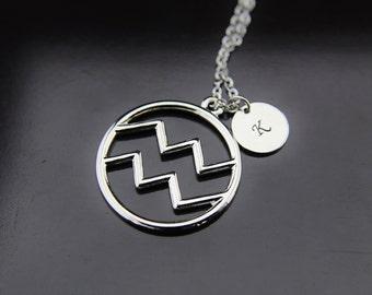 Silver Aquarius Zodiac Charm Necklace Aquarius Necklace Constellations Aquarius Sign of Zodiac Gifts Personalized Necklace Initial Necklace