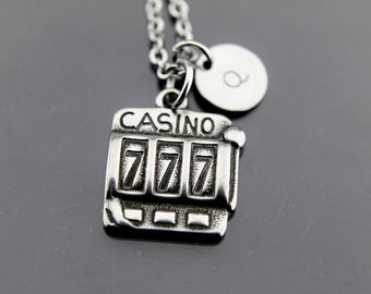 Silver Casino Charm Necklace, Casino Machine Charm, Casino Pendant, Personalized Necklace, Initial Charm, Initial Necklace, Customized