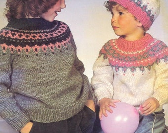 PDF Knitting Pattern Girls  Nordic sweater and hat pattern- fits 22-32 chest