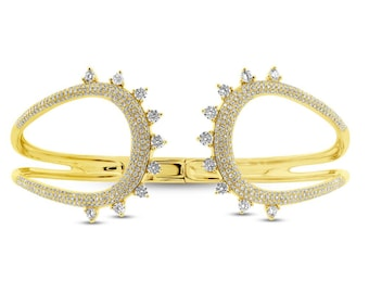 Beautiful 2.08ct 14k Yellow Gold Diamond Bangle, Spiked Spikey Spike Stud Studded Diamond Bangle,