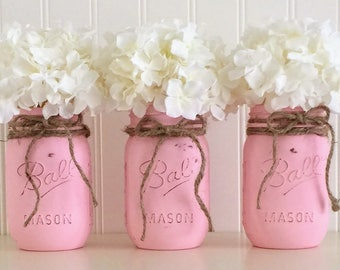 3 Pink Mason Jars, Painted Mason Jars, Baby Shower Centerpiece, Mason Jar Vase, Distressed Mason Jar, Mason Jar, Mason Jar Decor, Vase
