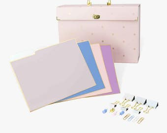 U Brands Fashion File Folders, Expandable Pocket File, Binder Clips, Push Pins, Office Desk Accessories,