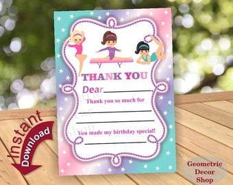 Gymnastic Thank you card / Gymnastics birthday thank you / Instant Download / Fill in the blanks / Pink / Purple / teal / Aqua / THG6