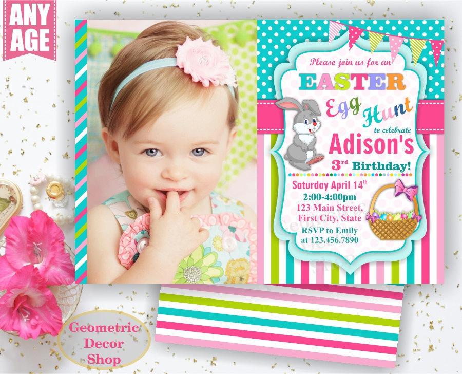 Easter Birthday Invitation Egg hunt Invite Bunny Easter egg Hunt Pink Teal aqua Green Girl Invitations Free Back BDE1