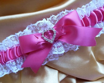 WEDDING GARTER fuschia pink and white satin and lace garter heart diamante bows hot pink