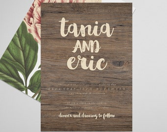 Wooden Wedding Invite . Ecclectic . Printable Wedding Invitation, Printable Invite, DIY Wedding Invitation, Print at Home Invitation