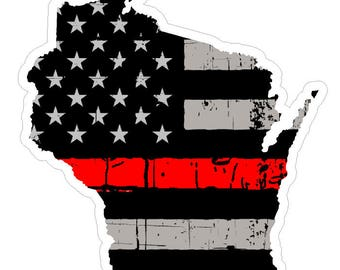 Wisconsin State (C49) Thin Red Line Vinyl Decal Sticker Car/Truck Laptop/Netbook Window