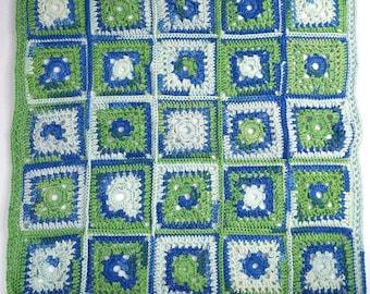 Crochet Baby Granny Square Blanket - Crochet Baby Boy Blanket - Crochet Baby Nursery Blanket - Baby Boy First Blanket-Green Baby Blanket