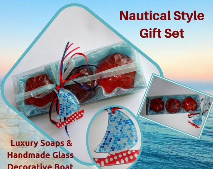 Nautical Style - Elegant Gift Set with Luxury Scented Soaps & a Handmade small blue Glass Decorative Boat : Ideal as Father's Day Gift