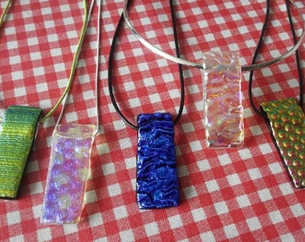 Dichroic Glass Pendants with silver plated necklace/hook