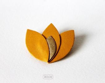 Lotus petals ochre leather brooch