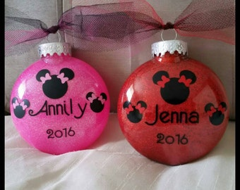 Personalized Minnie Mouse Ornament, Christmas  Ornament, First Christmas Ornament, Baby Girl Ornament