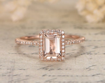 14K Rose Gold Morganite Engagement Ring Pink Morganite Ring Diamond Wedding Ring Half Eternity Diamond Band 5X7mm Emerald Cut Morganite