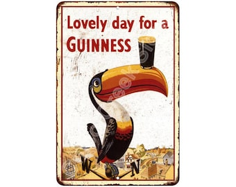 Lovely Day for a Guinness Vintage Look Reproduction 8x12 Metal Sign 8120563