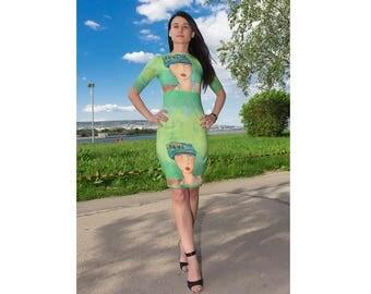 Midi Dress / Womens Dresses / Bodycon Dress / Short Sleeve Dress / Elegant dress /Summer Dress/Green Dress/Straight Line Dress /Cotton Dress