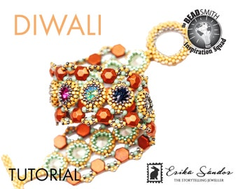 DIWALI bracelet - instant download for the pdf instructions. Bracelet with honeycomb beads, round pearls, rivoli cabochons and seed beads.