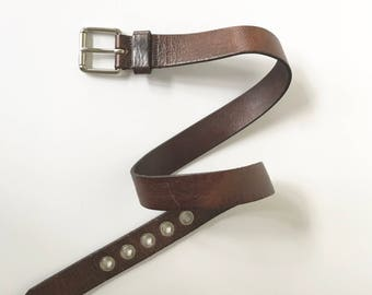 Men's Vintage Size 32 Brown Leather Belt