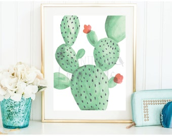 Professionally printed 8 x 10 green cactus with coral fruit blossom watercolor print