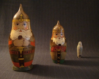 "Russian ""Viking Santa"" and Mummy Matryoshka Doll, Nesting Doll [Vintage]"
