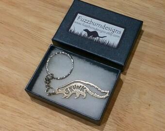 Skunk keychain, skunk keyring Stainless steel, skunk lover, rainbow bridge, 3d printed, pet memorial, skunk gift
