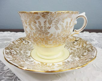 Colclough Yellow and Gold Floral Filigree Designed English Bone China Teacup and Saucer