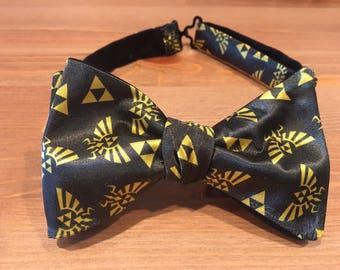 Legend of Zelda themed Bow Tie, Link, Triforce, Ocarina of Time, Breath of the Wild, Hylian, Self Tie, Pre Tied, Nintendo, Dapper On Arrival