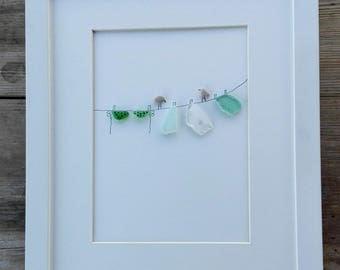 Pebble art, Sea glass art, sea glass image, cottage decor, home decor, unique gift, clothesline birds