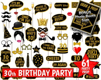 30th Birthday Party Printable Photo Booth Props. Black and Gold Glitter. Photobooth Selfies, Speech, Glasses, Hats, Ties, Lips, Mustaches.