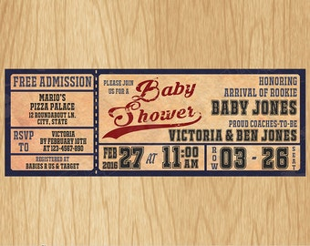 Vintage Baseball Baby Shower Invitations - Personalized / Digital file - Print It Yourself – DIY - Download Custom BS002N