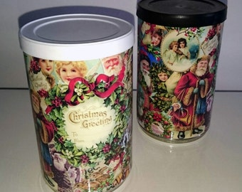 Victorian Christmas fill it yourself gift tin can. Great gift ideas comes empty so you can fill with sweets or other