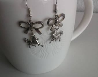 Sweet pony and bow earrings