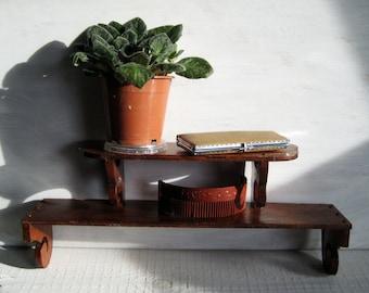 Vintage wooden shelf/small shelf double/rustic shelf/brown shelf/shelf handmade/rustic style