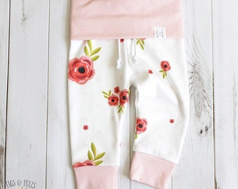 ORGANIC Baby Joggers (NB-3T) - Roses & Hearts; Toddler Leggings // Baby Clothes // Baby Girl // Floral leggings // Baby joggers // Pink